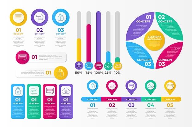 Plantilla de colección de elementos de infografía