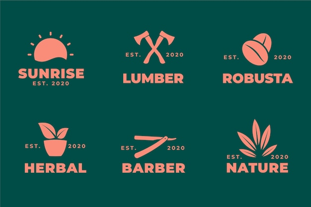 Plantilla de colección de elementos de logotipo mínimo