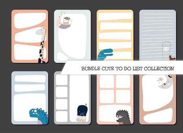 Plantilla de colección para hacer lista de conjunto de diseño plano