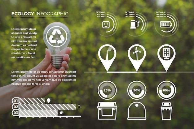 Plantilla de colección de infografía ecología