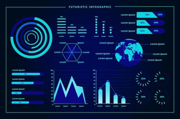 Plantilla de colección de infografía futurista