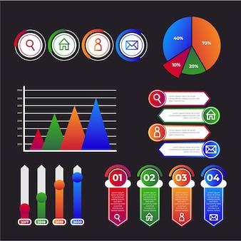 Plantilla de colección de infografía gradiente