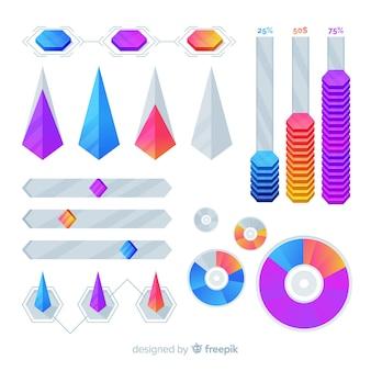 Plantilla de colección de infografía de marketing geométrico