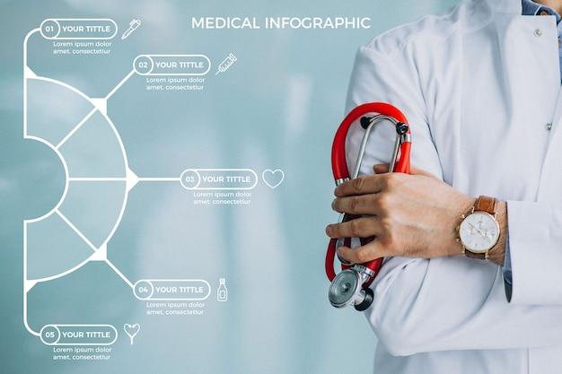 Plantilla de colección de infografía médica