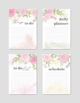 Plantilla de colección de lista de tareas con fondo floral colorido