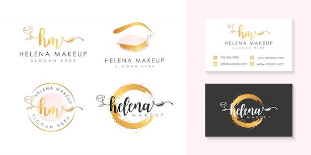 Plantilla de colección de logo de maquillaje helena.