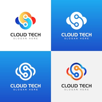 Plantilla de colección de logotipo de tecnología de nube moderna