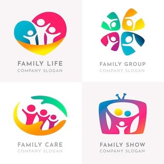 Plantilla de colección de logotipos familiares