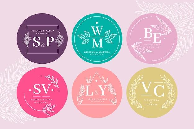 Plantilla de colección de monograma de boda colorida