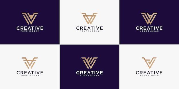 Plantilla de colección de monograma de logotipo de letra v creativa