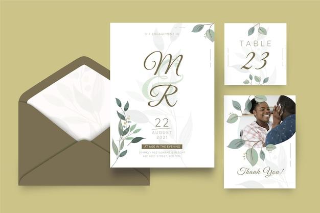 Plantilla de colección de papelería de aniversario de boda
