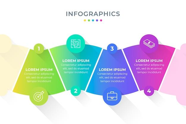 Plantilla de colección de pasos de infografía