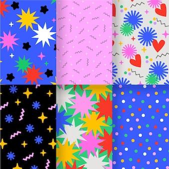 Plantilla de colección de patrones dibujados a mano abstracta