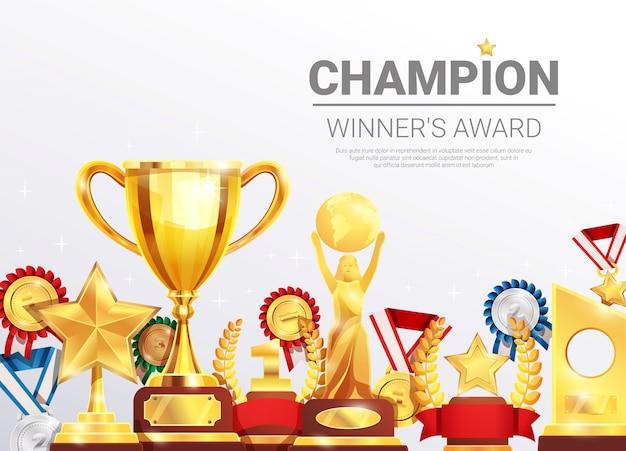 Plantilla de colección de premios de campeones ganadores