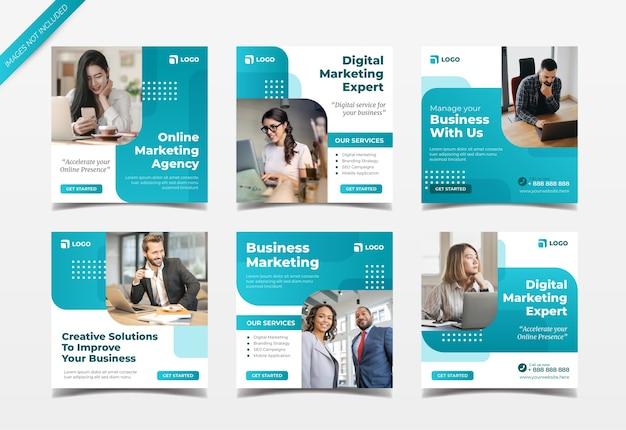 Plantilla de colección de publicaciones de instagram de agencia de marketing digital