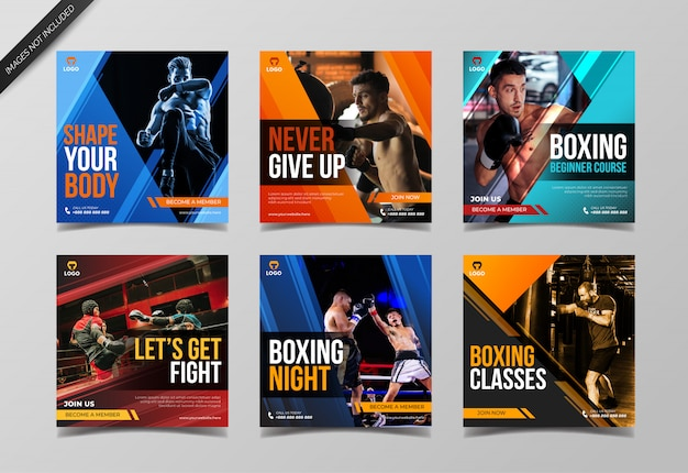 Plantilla de colección de publicaciones de instagram de boxeo deportivo