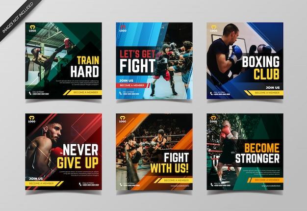 Plantilla de colección de publicaciones de instagram de boxeo