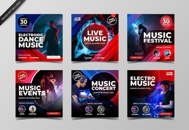 Plantilla de colección de publicaciones de instagram de conciertos de música electrónica