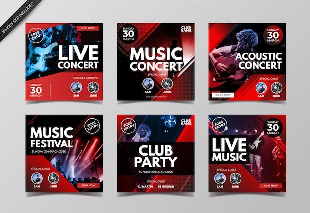 Plantilla de colección de publicaciones de instagram de conciertos de música en vivo