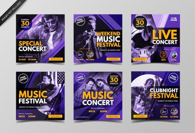 Plantilla de colección de publicaciones de instagram de festival de música