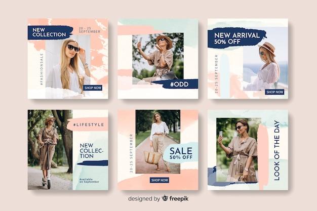 Plantilla de colección de publicaciones de instagram con foto