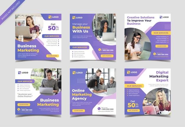 Plantilla de colección de publicaciones de instagram de marketing de negocios digitales
