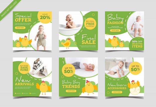 Plantilla de colección de publicaciones instagram de venta de moda para niños