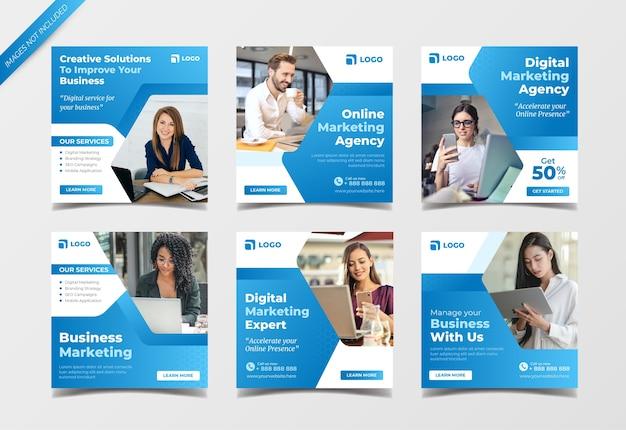 Plantilla de colección de publicaciones de redes sociales de agencia de marketing digital