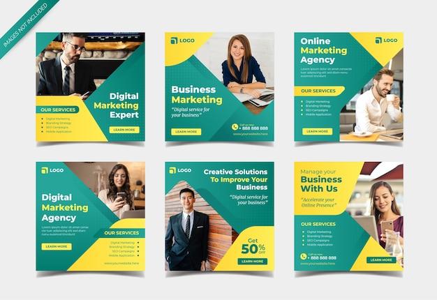 Plantilla de colección de publicaciones de redes sociales de marketing de negocios digitales