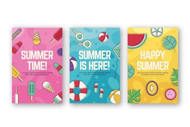 Plantilla de colección de tarjeta de verano plana