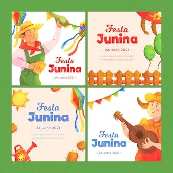 Plantilla de colección de tarjetas de acuarela festa junina