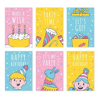Plantilla de colección de tarjetas de cumpleaños lindo doodle dibujado a mano