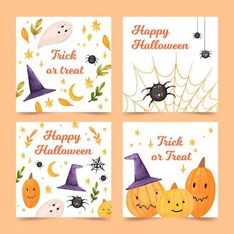 Plantilla de colección de tarjetas de feliz halloween