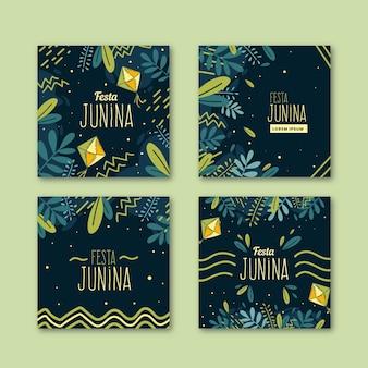 Plantilla de colección de tarjetas de festa junina dibujada a mano