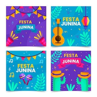 Plantilla de colección de tarjetas festa junina en diseño plano