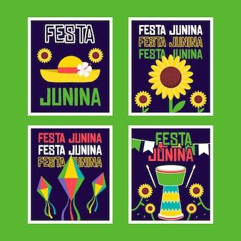 Plantilla de colección de tarjetas de festa junina