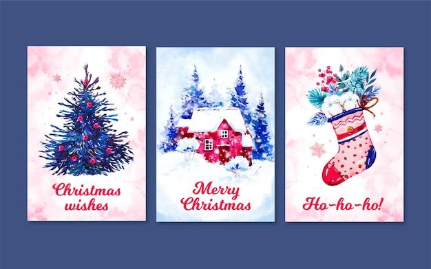 Plantilla de colección de tarjetas de navidad en acuarela