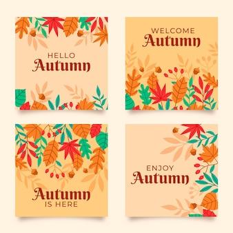 Plantilla de colección de tarjetas de otoño