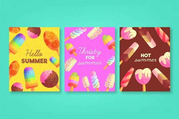 Plantilla de colección de tarjetas de verano acuarela
