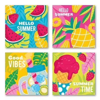 Plantilla de colección de tarjetas de verano dibujadas a mano