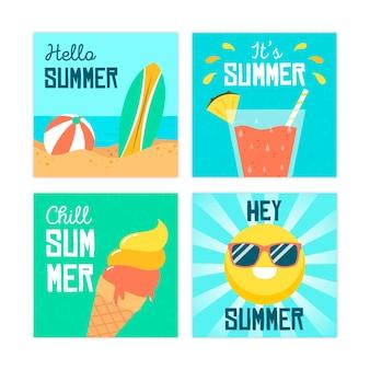 Plantilla de colección de tarjetas de verano en diseño plano