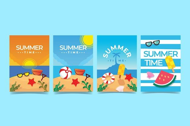 Plantilla de colección de tarjetas de verano