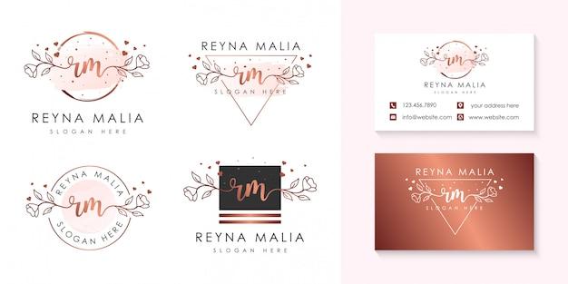 Plantilla de colecciones de logotipo femenino inicial rm.