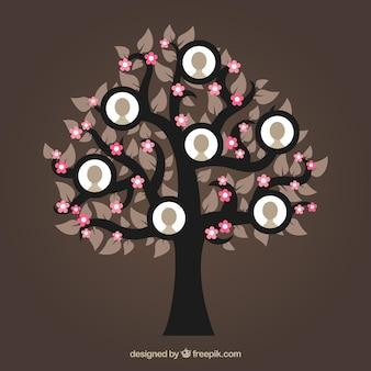 Plantilla de collage de fotos con árbol de diseño plano