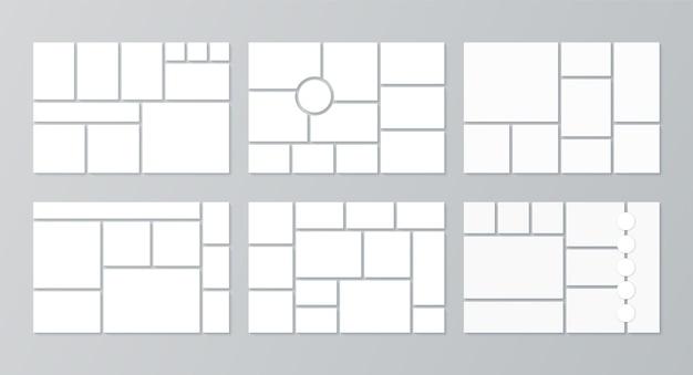Plantilla de collage de fotos. conjunto de cuadrículas de imágenes.