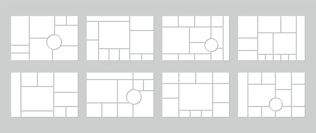 Plantilla de collage de fotos. cuadrícula de tablero de estado de ánimo. conjunto de moodboard en blanco con círculos. bandera de mosaico
