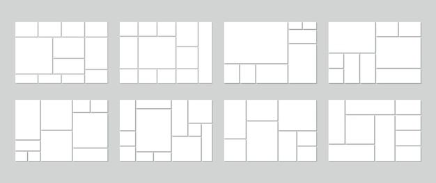 Plantilla de collage de fotos. tablero de humor en blanco. conjunto de cuadrículas de imágenes.