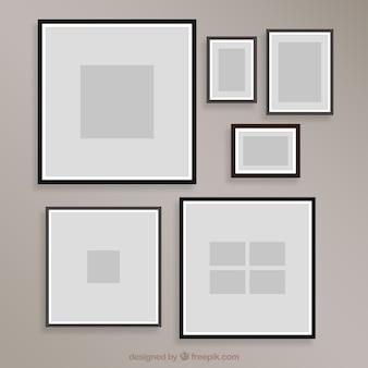 Plantilla de collage de marcos de fotos en diseño plano