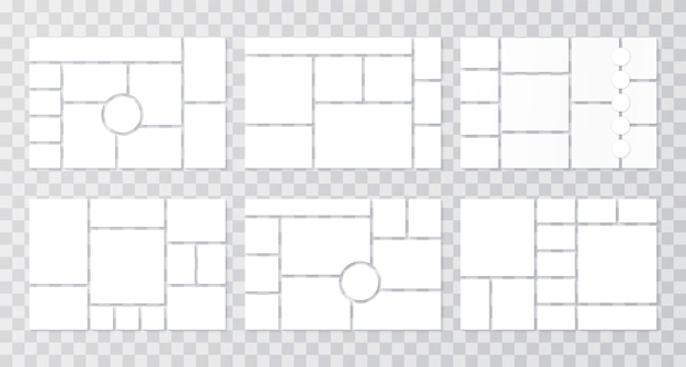 Plantilla de collage. rejillas de moodboard. fondo de tablero de estado de ánimo. establecer marcos de mosaico. ilustración.