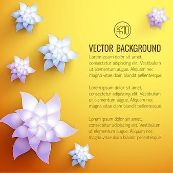 Plantilla de color amarillo anaranjado con texto y decoraciones 3d de flores blancas de varios tamaños